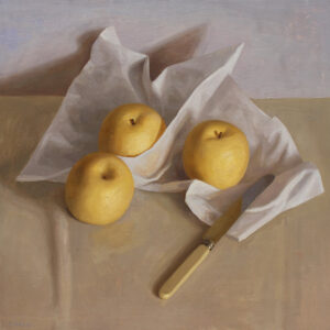 asian pears and paper